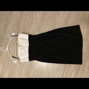 Black and white strapless formal dress